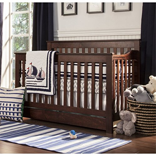 DaVinci Piedmont 4-In-1 Convertible Crib with Toddler Bed Conversion Kit, Espresso