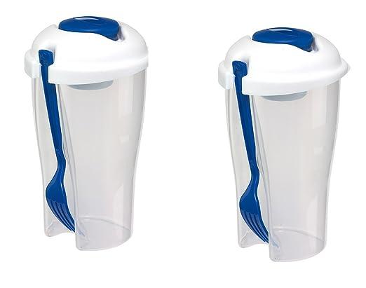 Ensalada de vasos de 2er Set de colour azul de 850 ml de la ...