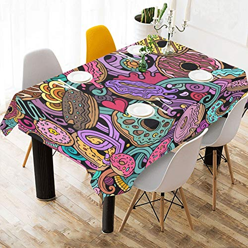 (Gednix Chocolate Candy Bitterness Custom Cotton Linen Printed Square Stain Resistant Table Linens Cloth Cover Tablecloth for Kitchen Home Dining Room Tabletop Decor 60x84 Inch)