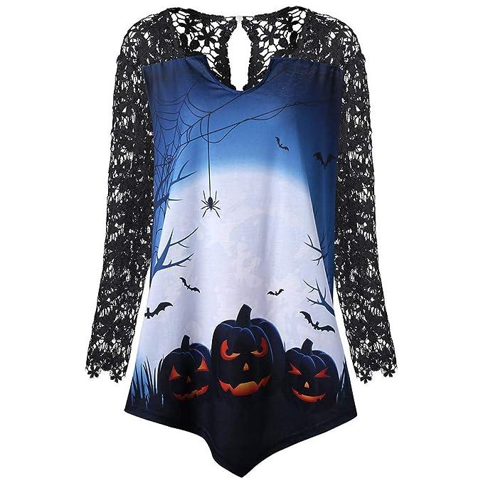 ❤ Camisa Larga de Encaje de Halloween, Mujeres Moda Patchwork de Encaje de Calabaza asimétrico T-Shirt Tops Blusa Absolute: Amazon.es: Ropa y accesorios