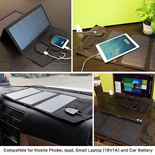 GIARIDE 21W 18V Portable Foldable Solar Charger 5V USB 18V DC Output Sunpower Solar Panel for Tablet, iPad, iPhone, Galaxy, 12V Car/Boat/RV Battery, Travel, Camping by GIARIDE (Image #5)