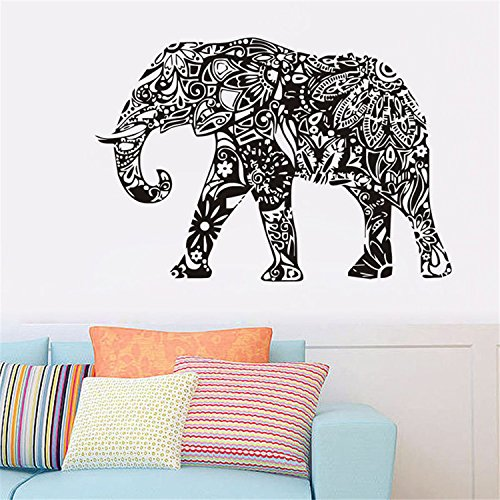 Yanqiao DIY Indian Sacred Religion Elephant Wall Stickers PVC Home Bedroom Decoration Wallpaper 22.4x32.7