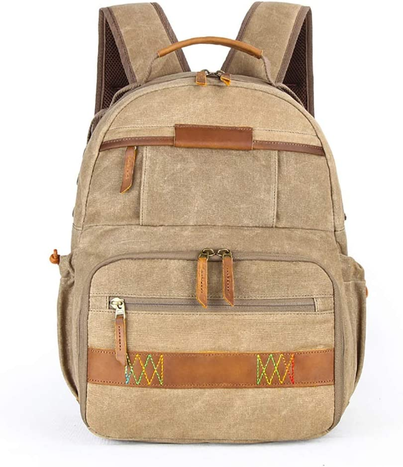 Backpack Travel Laptop Backpack Color : Khaki Shoulder Photography Backpack SLR Digital Bag Tarpaulin Mens Backpack Camera Bag for Outdoor Scratch-Resistant