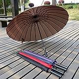 Brown Sun Rain Umbrella Oversized Parasol Long Handle Straight-Bar