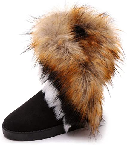New Womens Faux Fur Trim Snow Boots Flats Winter Warm Mid Calf Boot Casual Shoes