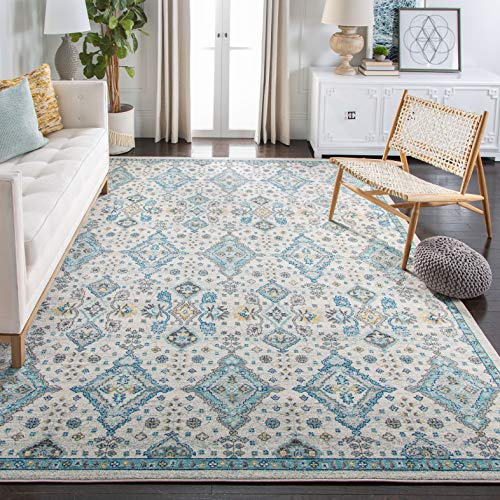 Safavieh Evoke Collection EVK224C Contemporary Ivory and Light Blue Area Rug (8' x 10')