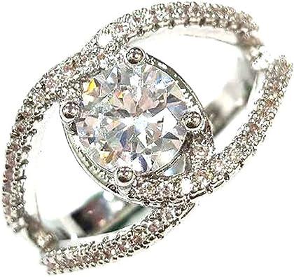 Women Wedding Bridal Hollow Double Heart Gemstone Silver Luxury Ring Size 6-10
