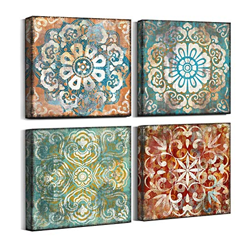 Mofutinpo Vintage Flowers Pattern Canvas Prints Wall Art for Bedroom 14x14 inches 4 Pieces Framed Artwork Vintage Picture Ready to Hang for Home Bathroom Kitchen Office Decoration (Renewed)