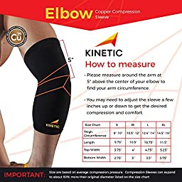 KINETIC Copper Elbow Compression Sleeve | Recovery Brace Copper Fit Support for Workouts | Pain Relief | For Relief of Arthritis, Golfers, Tennis Elbow & Joint Tendonitis, Injury Recovery | SINGLE