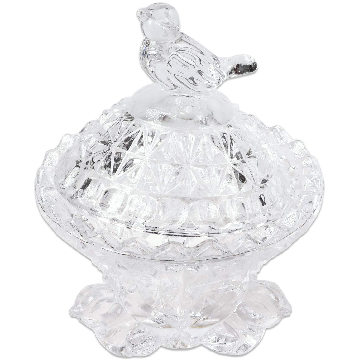 Fuji Premium Crystal Bird Shaped Glass Dappen Dish Holder with Lid Or Small Accessories Jewelry Holder. Design Unique. Best For Gift.