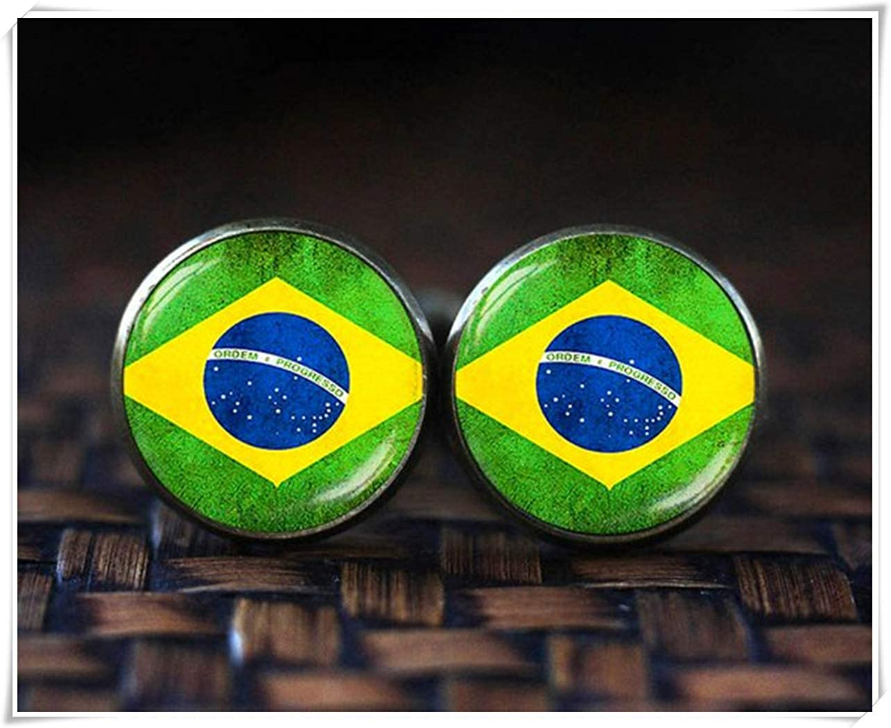 Amazon.com: because meet you Flag of Brazil Cufflinks ...