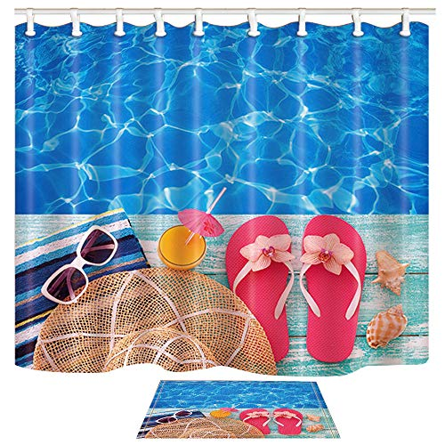 ChuaMi Summer Holidays Shower Curtain Set, Cool Blue Pool Water, Pink Flip Flops and Seashell, Waterproof Bathroom Decor Polyester Fabric 69 x 70 Inches with Hooks and Anti-Slip 60 x 40 Bath Mat