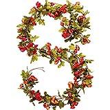 RERXN 2 Strands Artificial Rose Garland Silk Flowers Hanging Rose Vine for Wedding Home Wreath Decor (New Orange)