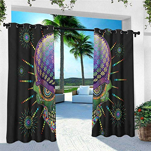 leinuoyi Psychedelic, Outdoor Curtain Panels Set of 2, Digital Mexican Sugar Skull Festive Ceremony Halloween Ornate Effects Design, Set for Patio Waterproof W96 x L96 Inch Multicolor -