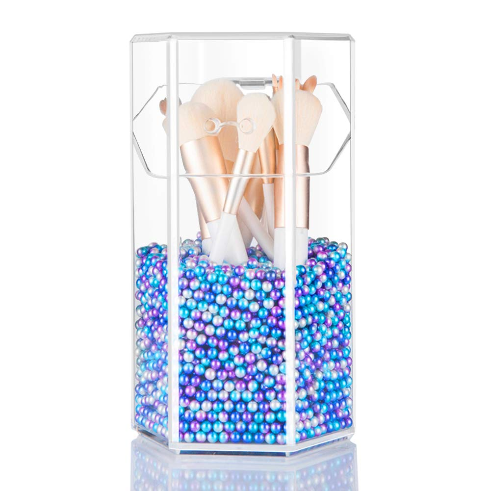 XP-Art Makeup Brush Holder, Acrylic Makeup Organizer with 2 Brush Holders 2 Drawers Dustproof Box and 9 Lipstick Box with Free Mermaid Pearl (Small Mermaid Color)