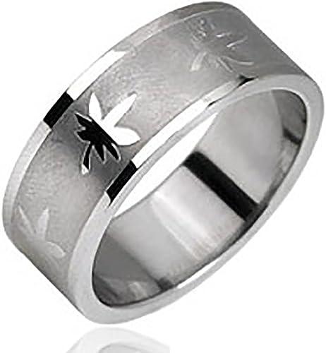 Stainless Steel Men/'s 8MM Marijuana Pot Leaf Design Wedding Band Ring Size 9-13