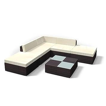 Rattan Gartenmöbel Lounge Set   Gemütliche 6 Teilige Sitzgruppe Für Balkon,  Polyrattan Gartengarnitur Inkl