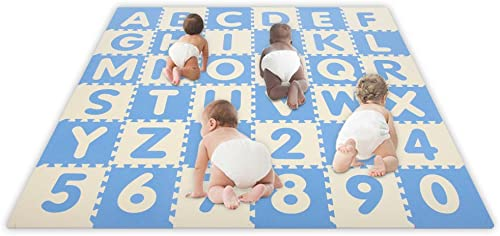 Play Learn Soft Safe SoftFloors 6'6″ x 6'6″ x 5/8″ Baby Blue / Ivory