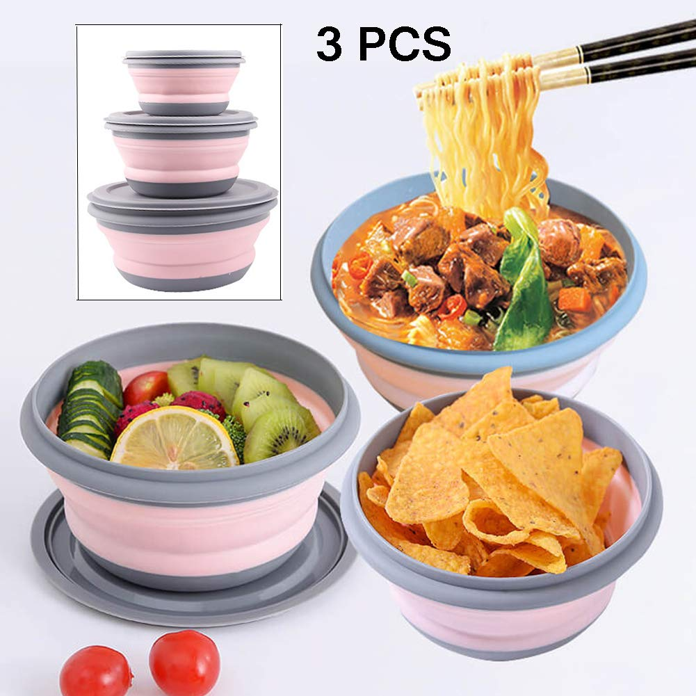 JUST GO Collapsible Silicone Bowl with Lid  Foldable Silicone Bowl with Cover 500ML 1000ML for Outdoor Camping, Travel, Hiking and Indoor School Student Home Kitchen Office (Pink 3PCS) by JUST GO