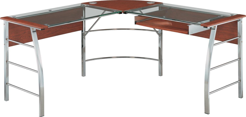Altra Furniture 9105296COM Wingate Glass Desk Altra Top L, Cherry