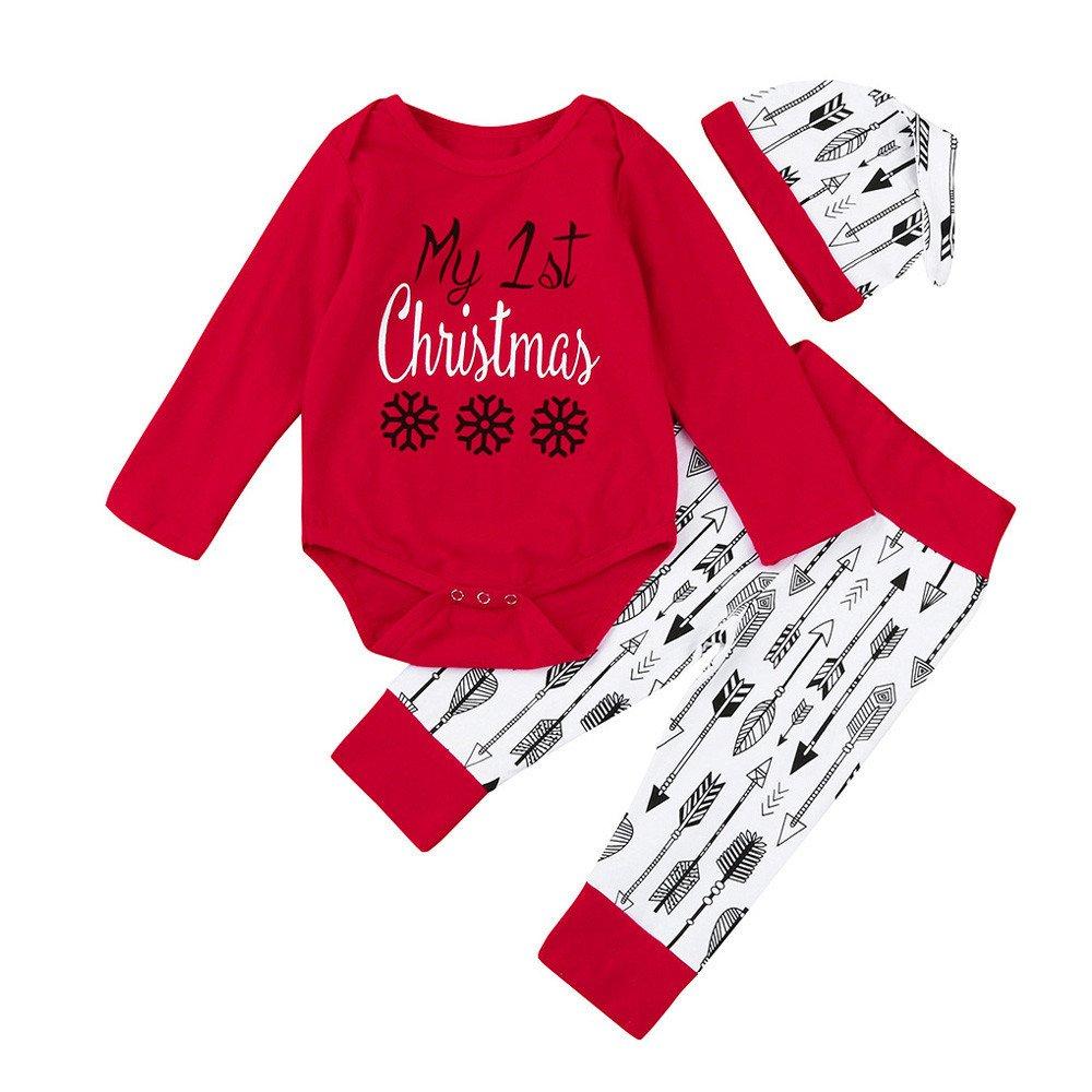 Chickwin 3 Pcs unisexe Infantile Bébé Garçon Fille Noël Lettre Imprimer Romper + Pantalons + Chapeau Tenues Ensemble Vêtements