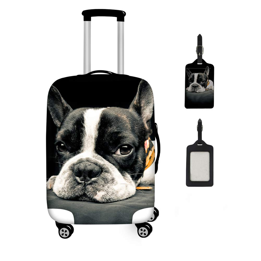 Coloranimal Travel Accessories Luggage Cover Sets 22-26 Inch Suitcase Suitcase Protector with Label Bulldog Design by Coloranimal (Image #1)