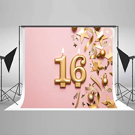 KateHome PHOTOSTUDIOS 2,2x1,5m 16th Cumpleaños Fondo de Fotos Globos de Oro Bombilla Glitter Star Telones de Fondo de Microfibra para la fotografía ...