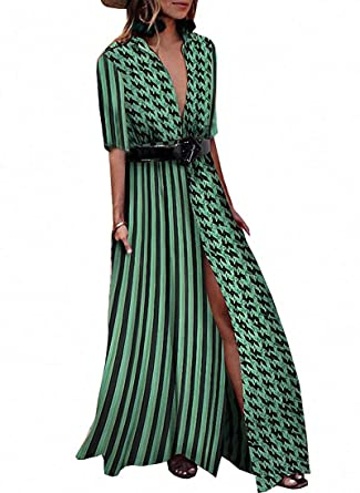 dca5a406c46 Remelon Women Short Sleeve V Neck Stripe Dot Print Belt Split Shirt Blouse Long  Maxi Dresses Green S at Amazon Women s Clothing store
