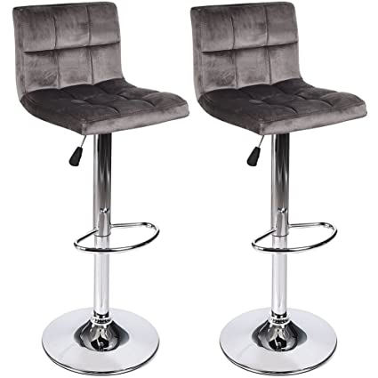 timeless design 62aac 6929a Elecwish Bar Stools Set of 2 Gray Velvet Flannel Tufted Seat with Chrome  Footrest Base Swivel Dining Chair Barstool Counter Bar SGS Gas Height ...