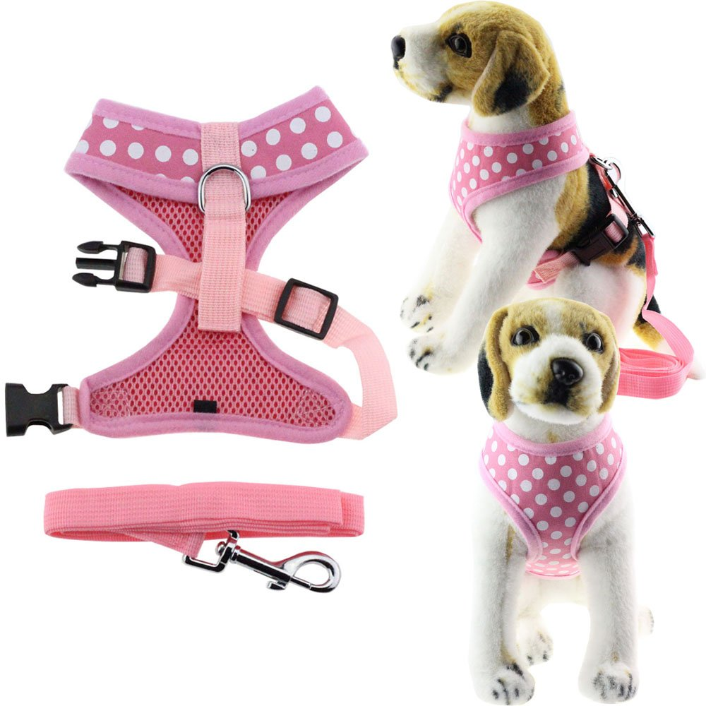 Bolbove Pet Adjustable Lovely Dots Mesh Harness and Leash Set for Cats & Small Dogs (X-Small, Pink) by Bolbove