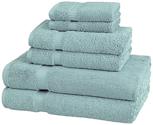 Pinzon Organic Cotton Bathroom Towels, 6 Piece Set, Spa Blue (Ocean Theme Towel Set)