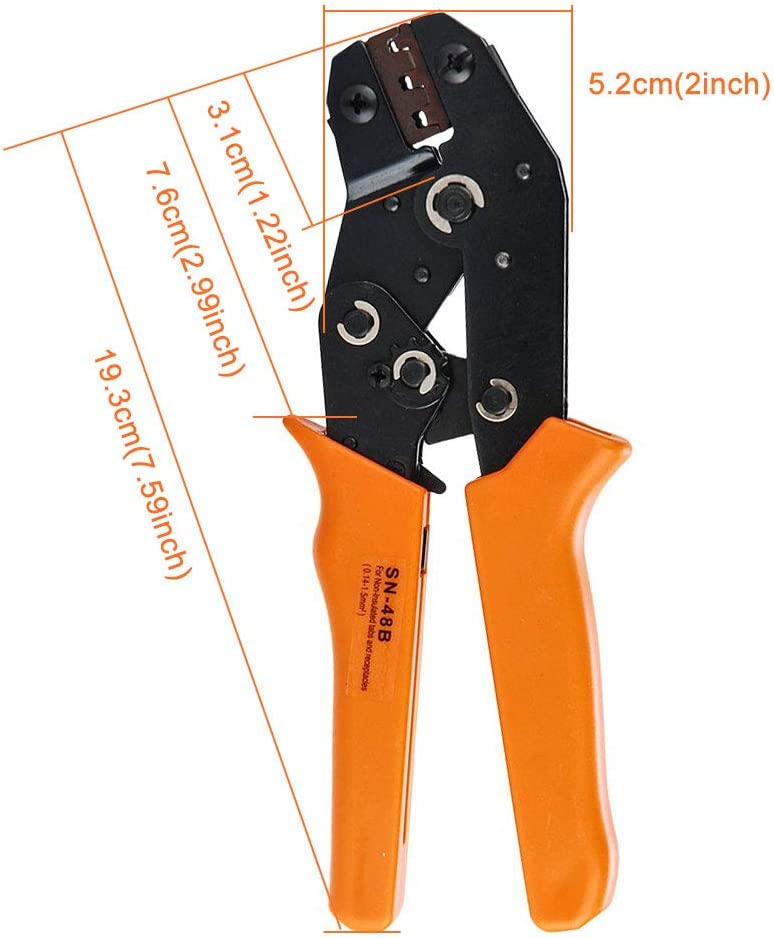 HIFROM Wire Crimping Plier Tools for Insulated Terminal Crimper Pin 20-16 AWG 0.14-1.5MM2 with Wire-electrode Cutting Die