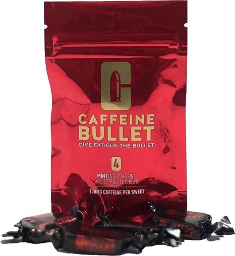 Caffeine Bullet - Caramelos de menta masticables con electrolitos. Suplementos de cafeína para antes de