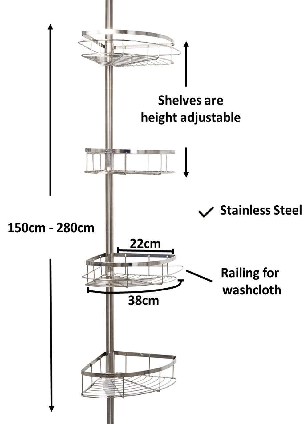 jocalvi – Estantería de Ducha telescópica Acero Inoxidable – Baño Estantería para Esquina 150 cm de 280 cm – para Ducha Bañera o Cocina
