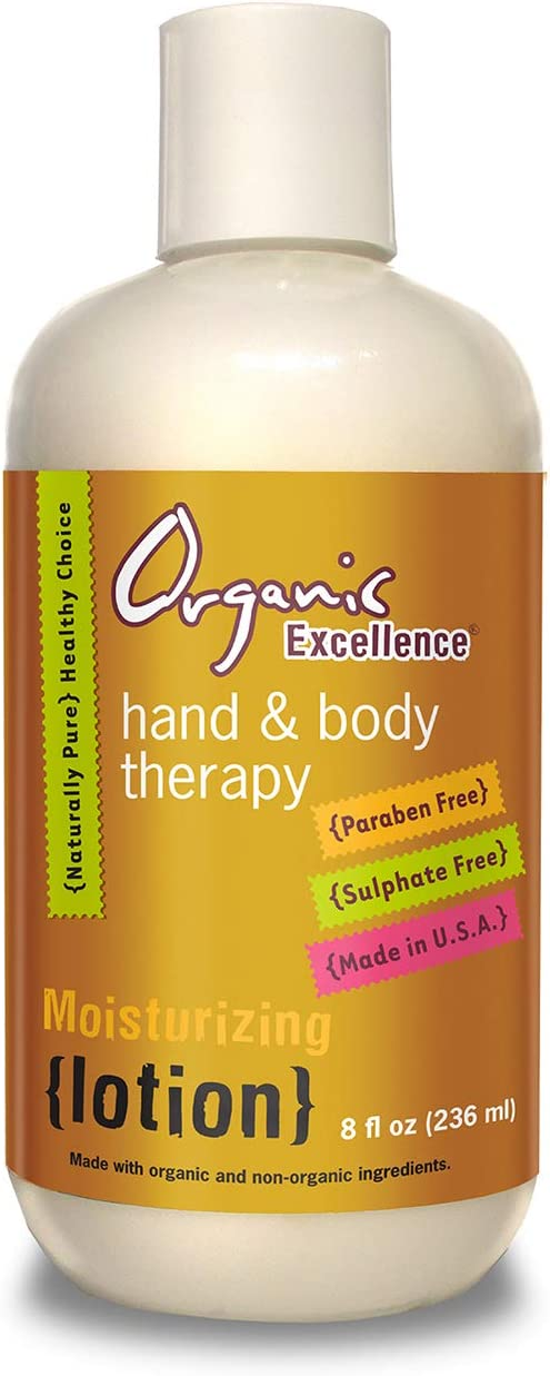 Organic Excellence Daily Organic Moisturizing Hand and Body Lotion Made with Shea Butter, Cruelty-Free, All Natural, Unscented, 8 Ounce Bottle