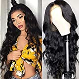 URALL Hair Brazilian body wave Lace Front wigs human hair 150% Density Unprocessed Virgin human hair wigs for black women Pre Plucked Natural Black (22inch)