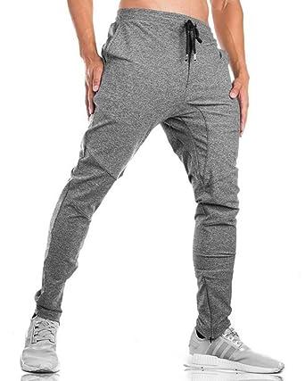 donhobo - Pantalones de Deporte para Hombre con Cremallera y ...