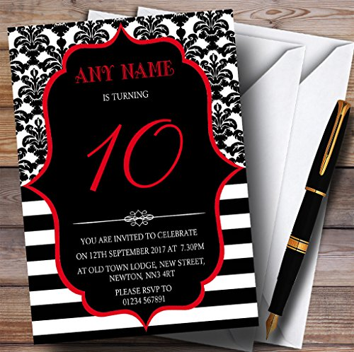 Vintage Damask Red 10th Personalized Birthday Party Invit...