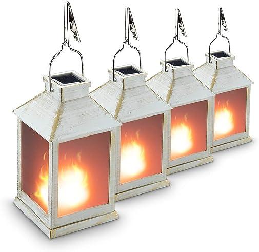 10 Vintage Style Solar Powered Lantern Fame Effect Metallic Coating White,Plastic ,Solar Garden Light with Vivid Fire Effect,Outdoor Solar Hanging Lantern,Decorative Lanterns ZKEE Set of 4