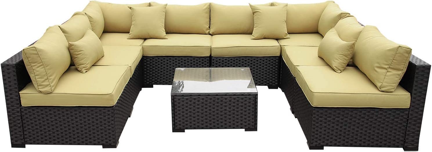 VALITA Outdoor PE Wicker Sofa Set 9 Pieces Patio Rattan Sectional Conversation Chair Furniture Black Olive Green