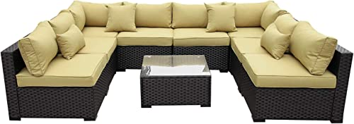 VALITA Outdoor PE Wicker Sectional Sofa Set 9 Pieces Patio Rattan Conversation Chair Furniture Sets Cushioned Olive Green