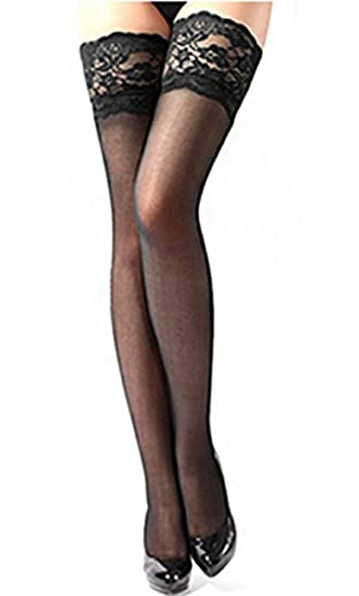 1ab14ecd0 Women s Sexy Lace Top Sheer Thigh High Silk Stockings (Black) at ...