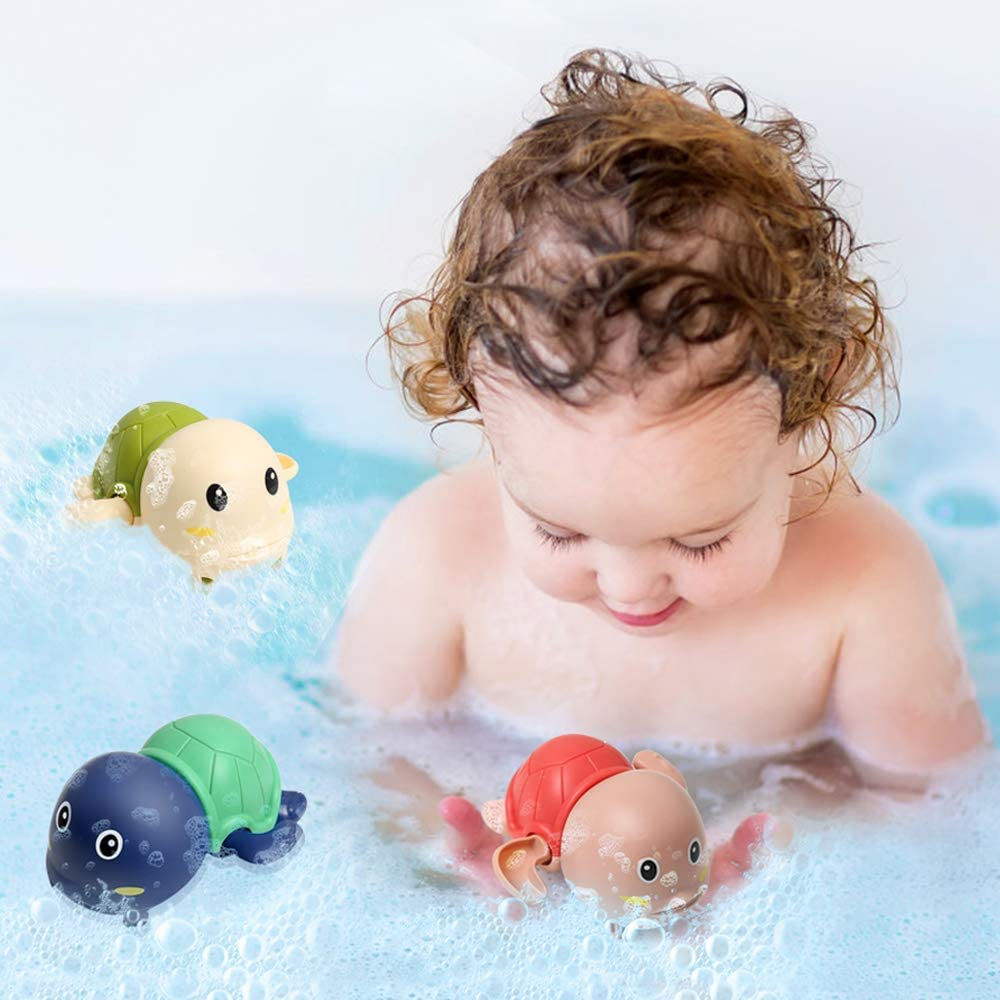 3 Packs Rtwrtne Baby Bath Toys Wind up Turtle Toys Multi-Colors Shower Toys Swimming Bathtub Pool toys for Kids Toddler Boys and Girls