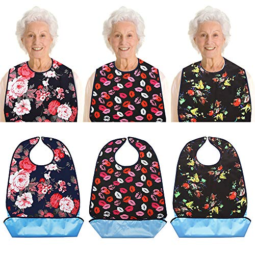 Vlokup Adult Bibs for Eating Women & Men, 3 Pack, Waterproof Mealtime Clothing Protector for Elderly, Optional Crumb Catcher, Adjustable Snaps, Reuasale Washable, Rose & Lips