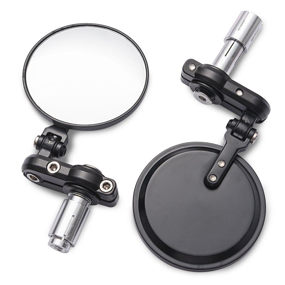 MICTUNING Universal Motorcycle Mirrors - 3'' Round Folding Bar End Side Mirror for Honda, Scooter, Suzuki, Yamaha, Kawasaki, Victory, Harley Davidson and More by MICTUNING (Image #1)