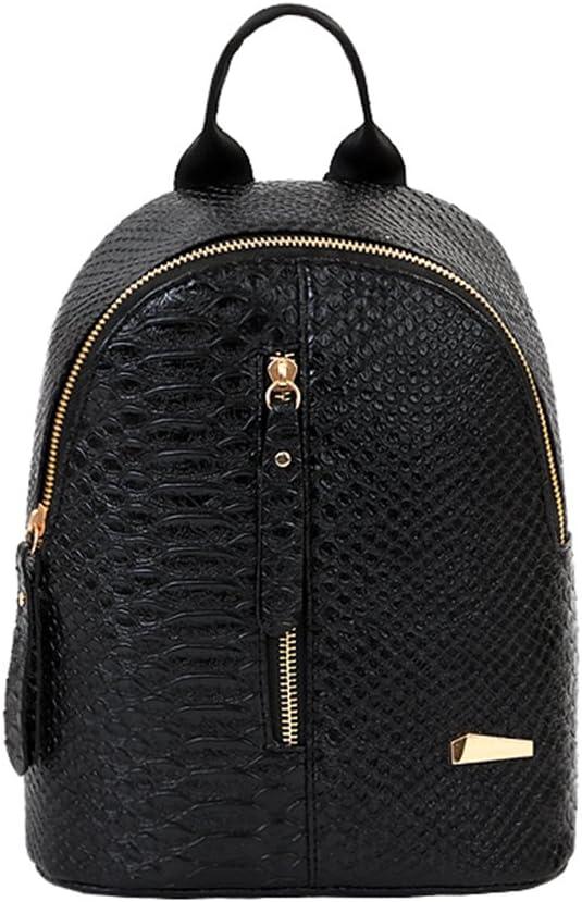 Guoainn Crocodile Grain Backpack Mini Rucksack Fashion School Travel Women Shoulder Bag Black
