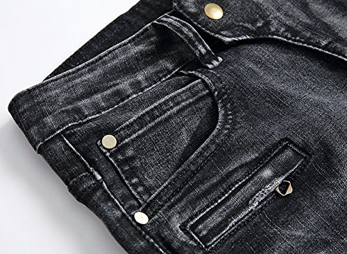 Hombre A Negro Vaqueros Ver Agujeros Moto Slim Destruido Desgarrar para Pantalones Fit 5PxvPRSn