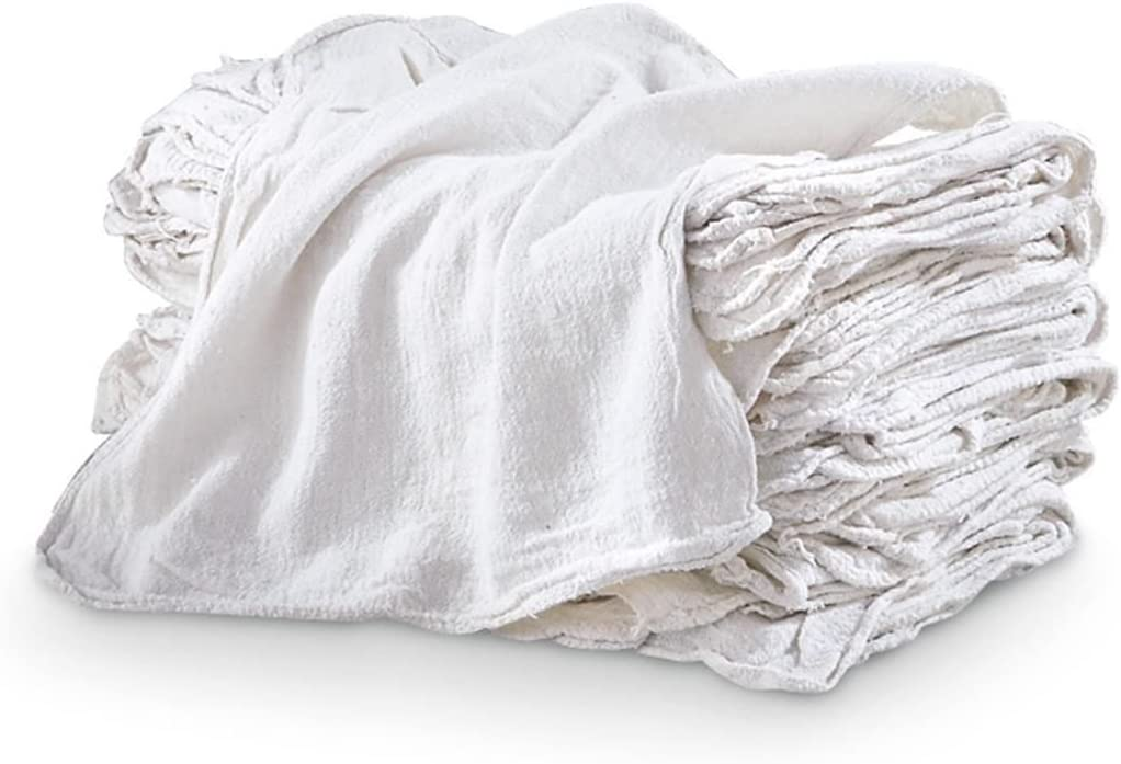 """Bulk Lot of 100 White Shop Towels 12/"""" x 14/"""" Cleaning Rags Homes Cars Reusable"""