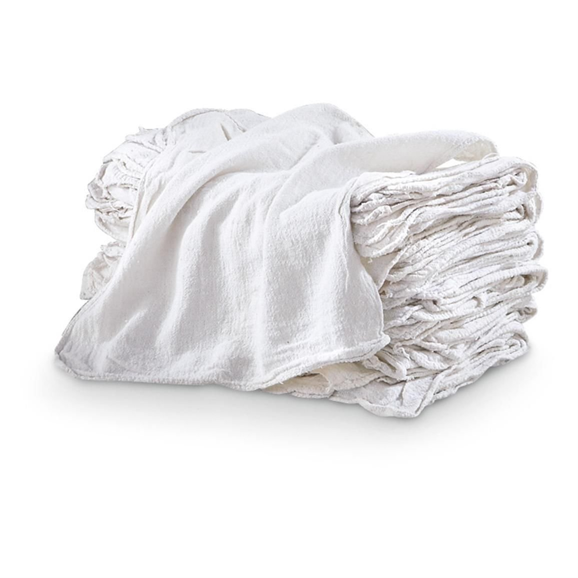 Auto Shop & Wash Towels - Pack of 100 - 100% PURE WHITE COTTON - LARGE 14'' x 14'' Commercial Grade - Can be Used for Drying, Cleaning, Washing, Oil Changes, Engine Cleaning and More! Absorbent Cotton