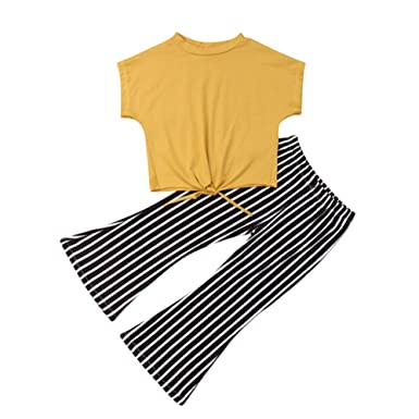 ace4380138ffc 2Pcs Toddler Kids Baby Girls Striped Bell Bottom Outfit Yellow Crop Top  Shirts and Flare Pants